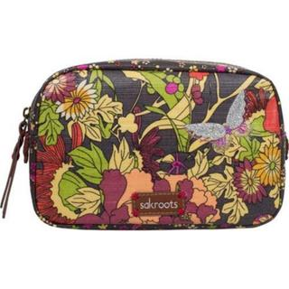 Women's Sakroots Artist Circle Travel Cosmetic Case Slate Flower Power