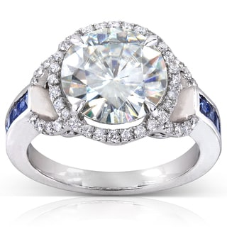 Annello 14k White Gold Round-cut Moissanite, Square-cut Sapphire and 1/4 ct TDW Diamond Engagement Ring (G-H, I1-I2)