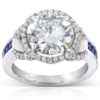 Annello 14k White Gold Round-cut Moissanite, Blue Sapphire and 1/4 ct TDW Diamond Engagement Ring
