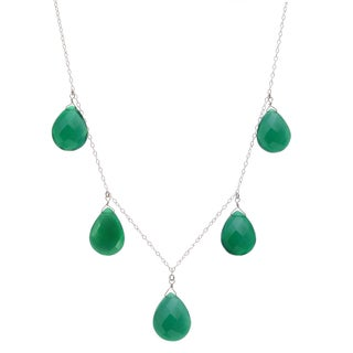 Ashanti Sterling Silver Emerald Green Chalcedony Briolette Gemstone Handmade Necklace (Sri Lanka)