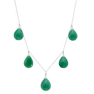 Ashanti Sterling Silver Emerald Green Large Chalcedony Briolette Gemstone Necklace (Sri Lanka)