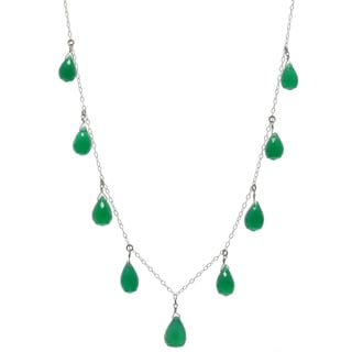 Ashanti Sterling Silver Emerald Green Small Chalcedony Briolette Gemstone Necklace (Sri Lanka)