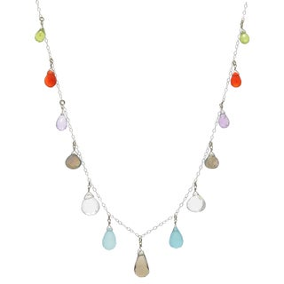 Ashanti Sterling Silver Shades of Paradise Multi Gemstone Handmade Necklace (Sri Lanka)