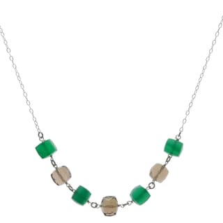 Ashanti Sterling Silver Green Chalcedony and Smokey Quartz Handmade Necklace (Sri Lanka)