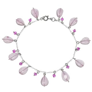 Ashanti Sterling Silver Rose Quartz and Hot Pink Quartz Gemstone Handmade Bracelet (Sri Lanka)
