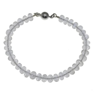 Ashanti Sterling Silver Natural Rock Crystal Handmade Bracelet with Easy Magnetic Clasp(Sri Lanka)