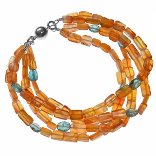 Ashanti Sterling Silver Neon Apatite and Carnelian Handmade Bracelet with Easy Magnetic Clasp(Sri Lanka)