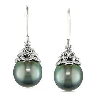 Miadora 14k White Gold Tahitian Black Pearl Dangle Earrings (9-10 mm)