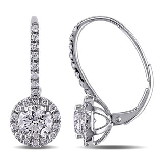 Miadora 14k White Gold 2ct TDW Diamond Halo Leverback Earrings (G-H, SI1-SI2)