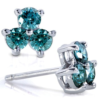 Annello 14k White Gold 5/8ct TDW Blue Diamond Stud Earrings