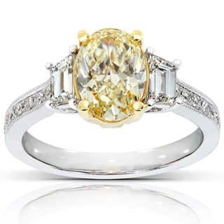 Annello 18k Gold 2 2/5ct TDW Certified Yellow Oval Diamond Ring (G-H, VS)