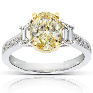 Annello 18k Two-tone Gold 2 2/5ct TDW Certified Fancy Yellow Oval-cut Diamond Ring (G-H, VS)