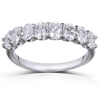 Annello 14k White Gold 1 2/5ct TDW Oval-cut Diamond Band (F-G, VS1-VS2)
