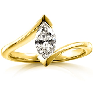 Annello 14k Gold 5/8ct TDW Certified Solitaire Marquise Diamond Ring (G, VS2)
