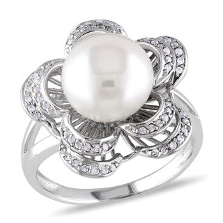 Miadora Sterling Silver White Pearl and Cubic Zirconia Flower Ring (9-10 mm)
