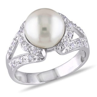 Miadora Sterling Silver Pearl and White Topaz Cocktail Ring (9-10 mm)