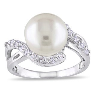 Miadora Sterling Silver White Pearl and White Topaz Ring (10-11 mm)