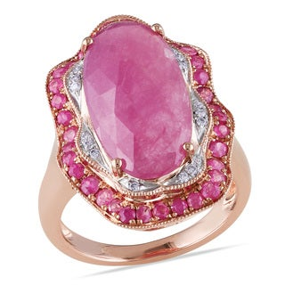 Miadora 14k Rose Gold Pink Sapphire and 1/10ct TDW Diamond Ring (G-H, SI1-SI2)
