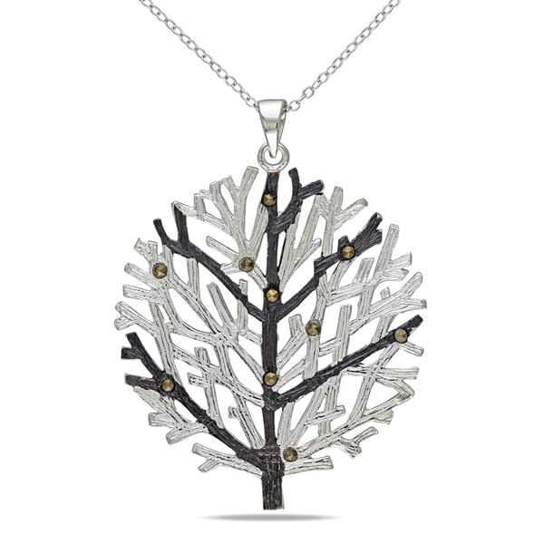 M by Miadora Sterling Silver Marcasite Tree Necklace