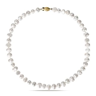 M by Miadora Goldtone White Cultured Freshwater Pearl Necklace (8-9 mm)