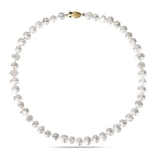 Miadora Goldtone Freshwater White Pearl Necklace (8-9 mm)
