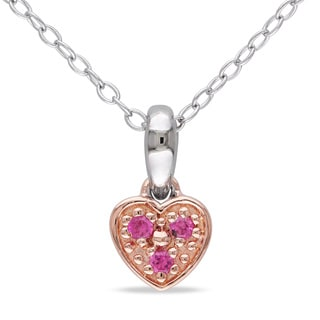 M by Miadora Sterling Silver Created Pink Sapphire Heart Necklace