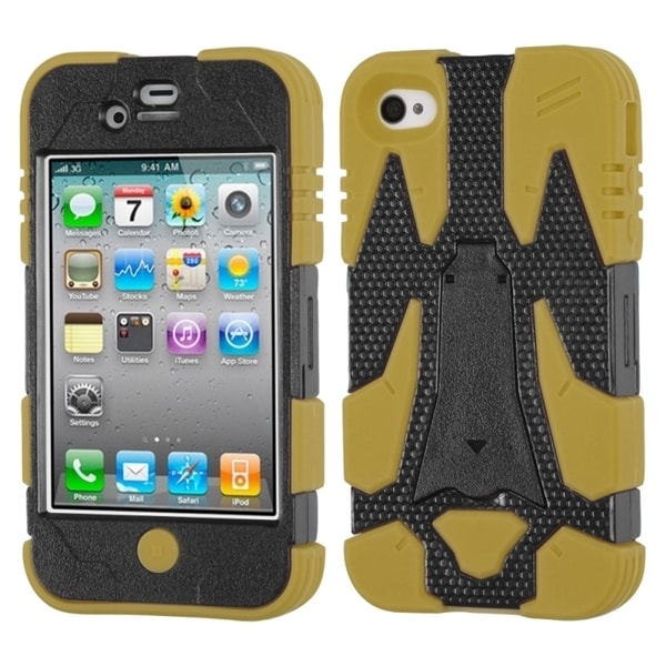INSTEN Black/ Yellow Cyborg Hybrid Phone Case Cover for Apple iPhone 4S/ 4