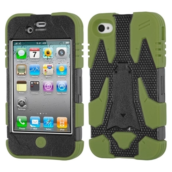 INSTEN Black/ Green Cyborg Hybrid Phone Case Cover for Apple iPhone 4S/ 4
