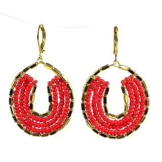 Handmade Byzantine Earrings in Red and Gold (India)