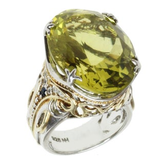 Michael Valitutti Two-tone Oro Verde and Blue/White Sapphire Cocktail Ring