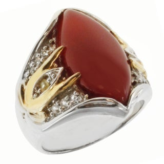 Michael Valitutti Two-tone Carnelian, Yellow and White Sapphire Ring