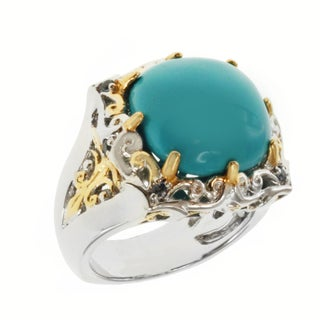 Michael Valitutti Two-tone Turquoise and Blue Sapphire Ring