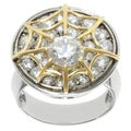 Michael Valitutti Sterling Silver and 14K Yellow Gold Cubic Zirconia Webbed Ring