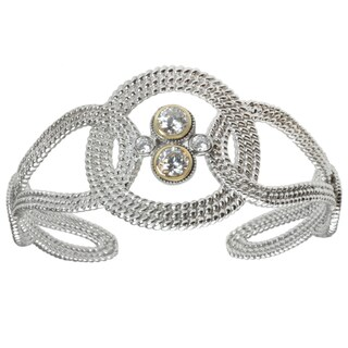 Michael Valitutti Sterling Silver and 14k Yellow Gold Cubic Zirconia Bracelet