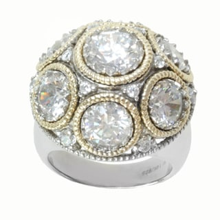 Michael Valitutti Sterling Silver and 14K Yellow Gold Round White Cubic Zirconia Ring