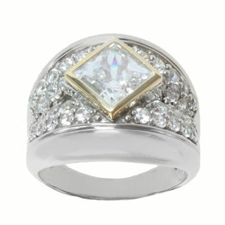 Michael Valitutti Sterling Silver and 14K Yellow Gold Princess-cut White Cubic Zirconia Ring