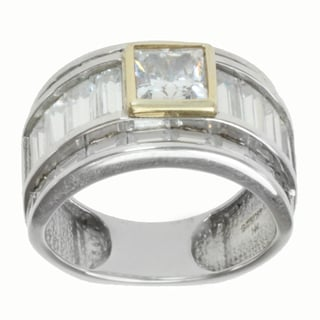 Michael Valitutti Sterling Silver and 14k Yellow Gold Baguette and Princess-cut Cubic Zirconia Ring