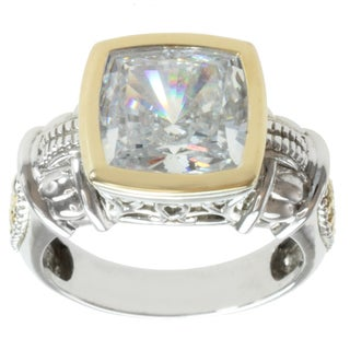 Michael Valitutti Sterling Silver and 14k Yellow Gold Solitaire Cubic Zirconia Ring