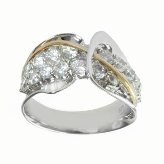 Michael Valitutti Sterling Silver and 14k Yellow Gold Cubic Zirconia Cocktail Ring