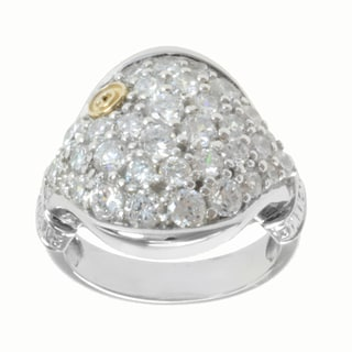 Michael Valitutti Sterling Silver and 14k Yellow Gold Pave-set Cubic Zirconia Ring