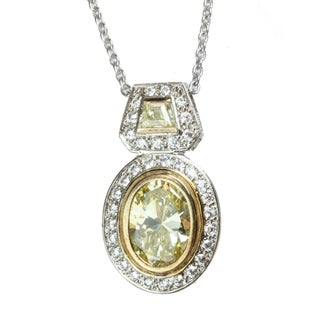Michael Valitutti Two-tone Yellow and White Oval-cut Cubic Zirconia Necklace