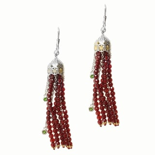 Michael Valitutti Two-tone Red Agate and Chrome Diopside Earrings