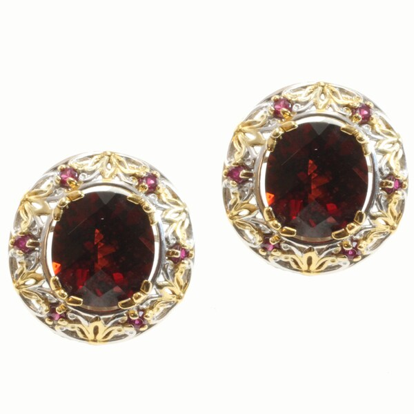Michael Valitutti Two-tone Garnet and Removable Ruby Jacket Earrings