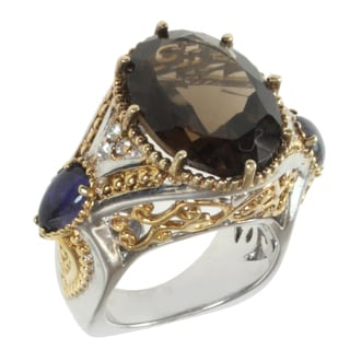 Michael Valitutti Two-tone Smokey Quartz, Iolite and White Sapphire Ring