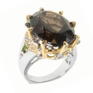 Michael Valitutti Two-tone Smokey Quartz, Chrome Diopside and White Sapphire Ring