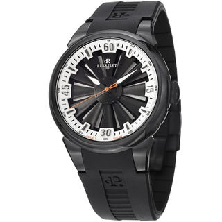 Perrelet Men's A1047/4 'Turbine' Black/Silver Dial Rubber Strap Watch