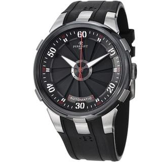 Perrelet Men's A1050/1 'Turbine XL' Black Dial Black Rubber Strap Watch