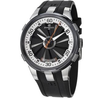 Perrelet Men's A1050/4 'Turbine XL' Black/Silver Dial Black Rubber Strap Watch