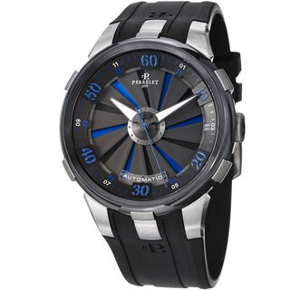Perrelet Men's A1050/5 'Turbine XL' Blue/Black Dial Black Rubber Strap Watch