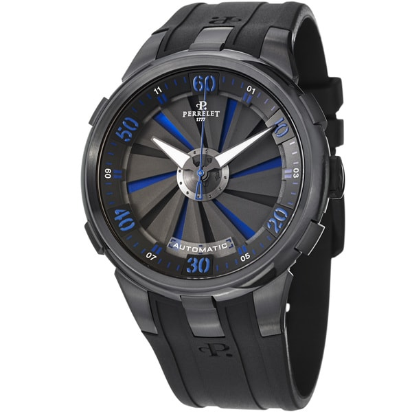 Perrelet Men's A1051/5 'Turbine XL' Black/Blue Dial Black Rubber Strap Watch